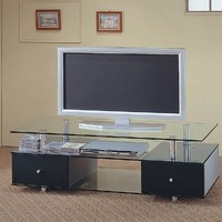 Contemporary Glass Shelves Flat Panel TV Stand with Drawers