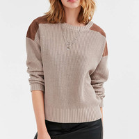 Ecote Sadie Vegan Suede Panel Pullover Sweater - Urban Outfitters