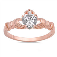Sterling Silver Rose Gold Plated CZ Claddagh Ring