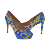 Blue Beige Abstract Square Women's High Heels (Model 044) | ID: D1837360