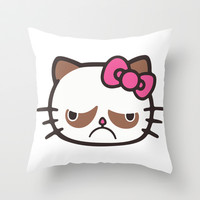 Hell No Kitty  Throw Pillow by LookHUMAN