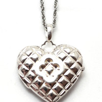 Heidi Klum Sterling Silver Clover Quilted Heart Locket Pendant