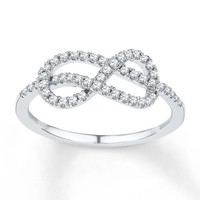 Diamond Infinity Ring 1/4 ct tw Round-cut Sterling Silver