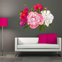Peony Wall Decal Peony Flowers Wall Sticker Vintage Watercolor Peony Wall Stickers Floral Wall Decals cik2268