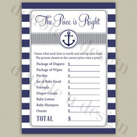 INSTANT DOWNLOAD - Nautical Price is Right Baby Shower Game in Navy and Gray - Printable DIY