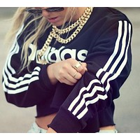 "A ""Adidas"" Popular Women Print Long Sleeve Crop Top Pullover Sweater I"