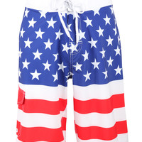 LE3NO Mens American Design Boardshort Swim Trunk with Pocket (CLEARANCE)