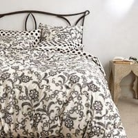 Monochrome Bloom Duvet by Anthropologie Black & White