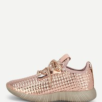 Embossed Lace-up Glitter Sneakers