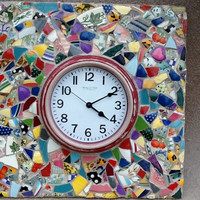 """Clock Mosaic Quilt Wall Decor 17"""" x 17"""" x 3"""" OOAK HandmadeMothers day , Easter , Unique Gift, Home Decor , Housewarming"""