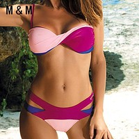 Push Up Bandage  Patchwork swimsuit bikini