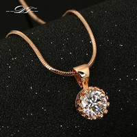 Vintage Crown CZ Diamond Necklaces &Pendants 18K Silver/Rose Gold Plated Fashion Brand Jewelry/Jewellery For Women Chain DFN390M