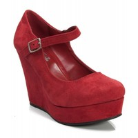 New Soda Romie-S Faux Suede Closed Almond Toe Mary Jane Platform Wedge LIPSTICK