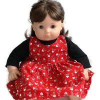 Christmas Red Doll Jumper & Black Knit Shirt White Green 2 Piece Outfit 14 to 16 inch Baby Doll Bitty Twin--US Shipping Included