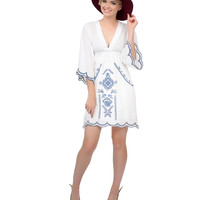 1970s Style White & Blue Embroidered Open Sleeve Tunic Dress