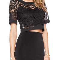 Black Cropped Lace Top