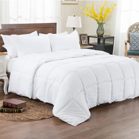 3pc Reversible Solid/ Emboss Striped Comforter Set- Oversized and Overfilled-White