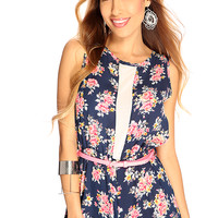 Navy Floral Mesh Sleeveless Casual Summer Cute Romper