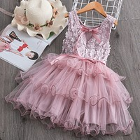 Floral Embroidered Mesh Dress Sleeveless Dress For Kids
