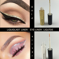 sliver eye linerliquide gold glitter liner Shiny Long Lasting Eye Liner Waterproof Makeups Eyeliner Liquid Beauty Cosmetic