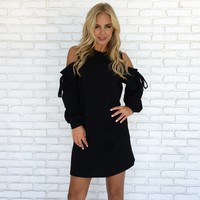 Of The Essence Sweater Dress in Black