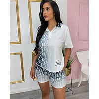 DIOR Women With short sleeves Top Pants shorts Two-Piece