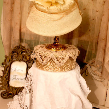 50s Vintage Straw Hat - Cream Ribbon Hat -1950s Cloche Millinery - Hollywood Glam - Audrey Hepburn Style - Chic Retro Accessory - Bridal Hat