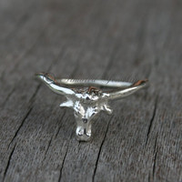 Sterling Silver Longhorn Ring - Texas Longhorns - Steer
