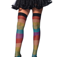Rainbow Thigh Highs With Fishnet Overlay