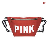 Victoria Pink Fashion New Letter Print Shopping Leisure Shoulder Bag Waist Pack Bag 1#