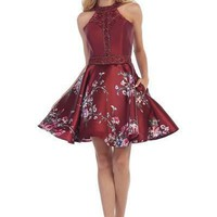 2017 Burgundy floral homecoming dress let's 6056