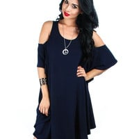 Navy Lyss Loo Open Shoulder Over Sized Tunic Dress