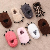 Winter Thickening Warm Hairy Animal Paw Pattern Toddler Shoes for Baby Infant