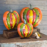 Recycled Metal Pumpkins On Stands (Set of 3)