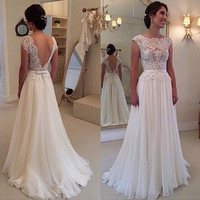 2016 Hot Selling Custom Made A Line Wedding Dresses Vestido de Noiva Casamento Chiffon Lace See through Backless Robe De Mariage