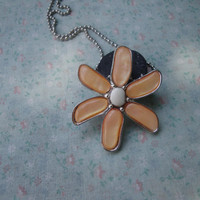 Daisy Flower Charm Chain Necklace. Pearly Orange Flower Brooch