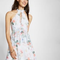 Floral Print Tiered Fit And Flare Dress