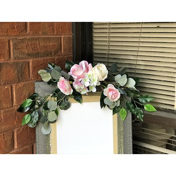 Wedding Sign Banner Flowers - Artificial Roses, Hydrangeas, and Eucalyptus Greenery