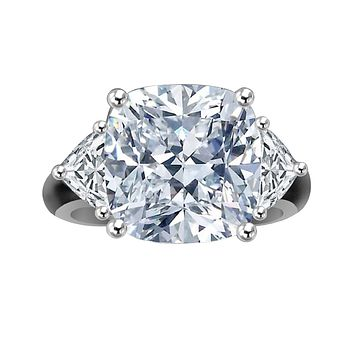 10 CT.(12x12mm) Intensely Radiant Cushion square Center Diamond Veneer Cubic Zirconia Sterling Silver Ring. 635R71199