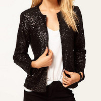 new hot sell Women lady black bliing sequins collarless short jacket coat Size S