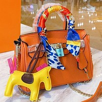Hermes Fashion New Leather Handbag Shoulder Bag Crossbody Bag Orange