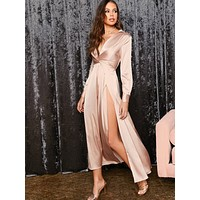 SHEIN Plunge Neck Twist Front Split Thigh Satin Dress