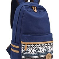Leaper Casual Style Canvas Laptop Bag/ Shoulder Bag/ School Backpack/ Travel Bag/ Handbag with Embroidery Design (Dark Blue)