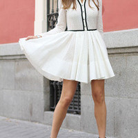 White Eyelet Skater Dress With Contrast Trims