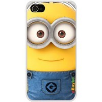 4GDCM-11W iPhone 4S 4G iPhone4 At&t Sprint Verizon Funny Cartoon Despicable Me Minions Hard Case Cover with eBayke Logo