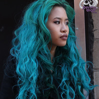 Murmaider Teal Invisible U- Part Wig