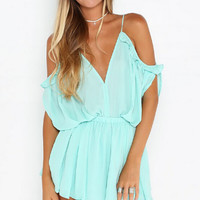 Plain Loose Cold Shoulder Romper