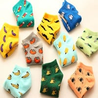 New cute fruit color love candy color cotton sock summer style women's socks  women's thin sock slippers