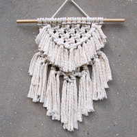 Modern macrame wall hanging Bedroom decor Small macrame wall art Tapestry White handmade accents Interior design Boho chic wall decor