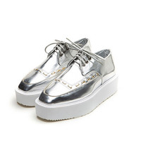 STITCHED METALLIC CREEPERS- SILVER